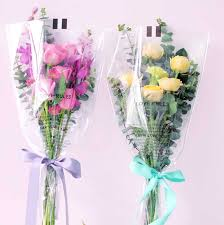 How To Wrap Flower Bouquet In Paper 50pcs Single Rose Plastic Package Transparent Flower Bouquet Wrapping Paper Plastic Opp Bag Floral Packaging Bags Party Decor