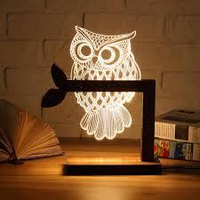 <b>3D</b> Wooden Owl <b>LED Night Light</b>