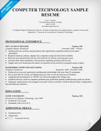 Computer Resume Skills Simple Computer Technology Resume Sample Resumecompanion Resume