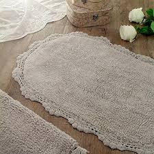oval bath rugs mat rug vintage shabby chic farmhouse crochet grey cotton with fringe oval bath rugs