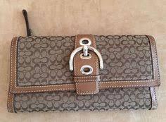 Coach wallet Signature Logo trifold canvas leather envelope womens buckle   Coach  Envelope