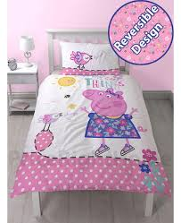 peppa pig happy single duvet cover and pillowcase set