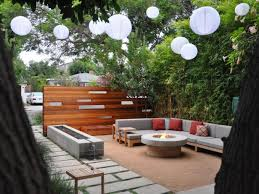modern outdoor living room with white paper lanterns