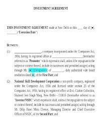 Investor Contract Template Free Small Business Investment Agreement