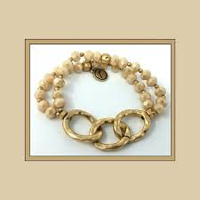 nwt jane marie gold and cream stretch bracelet