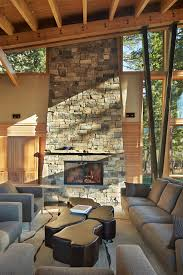 tall stacked fireplace stone