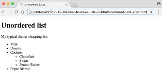 Html Unordered List Html Bulleted List Code Bridge Plus