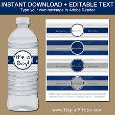 Decorating Water Bottles For Baby Shower Baby Boy Shower Decorations Navy and Gray Water Bottle Labels 53