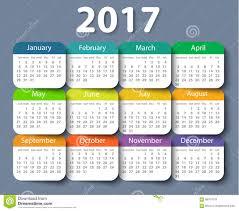 Calender Design Template Calendar 2017 Year Vector Design Template Stock Vector
