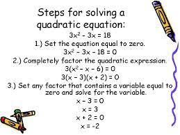 to solve quadratic equations standards