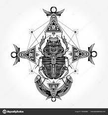 Skarab Tetování Starověký Egypt Mytologie Stock Vektor