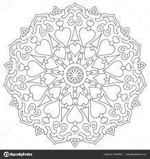 Kleurplaat Mandala Met Hart Geïsoleerd Op Een Witte Pagina For