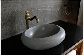 19 oblong oval gray basalt stone bathroom vessel sink co moon