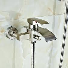 bathtub sprayer wall mount brushed nickel modern square rain shower bathroom tub faucet in attachment handheld