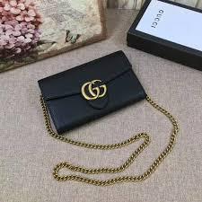 gucci gg marmont leather mini chain bag black 401232