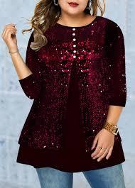 Modlily Size Chart Plus Size Sequin Panel Button Detail T Shirt Modlily Com Usd 33 96