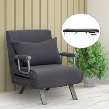 homcom adjule folding convertible single sleeper sofa bed chair grey