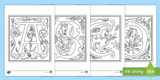 Illuminated Letters Coloring Pages Letters Illuminated Uks2 Lks2