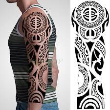 Vodotěsný Dočasné Tetování Nálepka Tribal Totem Old School Plné Arm