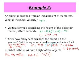 example 2 an object is dropped from an initial height of 90 meters