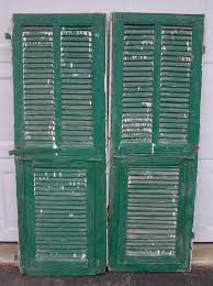 shutters mediterranean shutter window antique wooden architectural rustic old shutters salvage wall decor piece chippy green and white paint