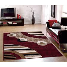 Modern Living Room Rug Sweet Home Stores Clifton Collection Modern Circles Design Red 5