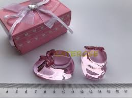dhl ups fedex 50pcs lot baby christening gift pink crystal baby bootie keepsakes crystal shoe baby souvenirs us604