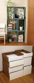 diy repurposed furniture.  Furniture DIY Modular Bookcase Of Salvaged Drawers NOTE On Wall Beside My Sewing  Table On Diy Repurposed Furniture