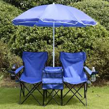 picture of double folding picnic camping chair with umbrella table and cooler beach