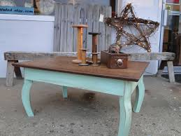 Vintage Wooden Oak Coffee Table Table In Distressed Seafoam Green Rustic  Beach Cottage Shabby Chic Country