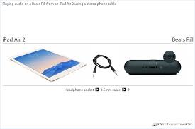 how to connect an ipad air 2 to a beats pill playing audio on a beats pill from an ipad air 2 using a stereo phone cable