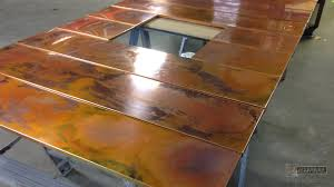 burnished copper wall panels for fireplace surround view 2