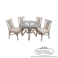 rattan bamboo round glass top dining table 4 chair set glass top dining table set 4