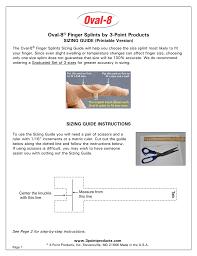 Oval Size Chart Oval 8 Finger Splint Sizing Chart Manualzz Com