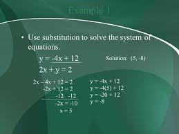 example 1 use substitution to solve the system of equations