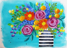 learn how to paint easy roses and daisies boho flower vase acrylic
