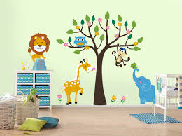 White Themed Amazing Kids Wall Decor Ideas with Beautiful Tree Wall Decals  complete with the Leaf that have Monkey Sticker also Cool Blue Elephant Wall  ...