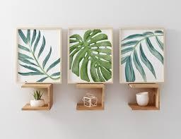 zoom on leaf wall art set with beach art prints watercolor beach nursery art tropical palm
