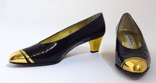 80s black patent leather pumps with gold toned metal toe cpas and heel covers leather