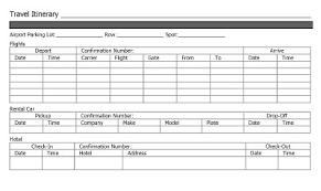 Itinerary Travel Template 4 Travel Itinerary Templates Excel Xlts