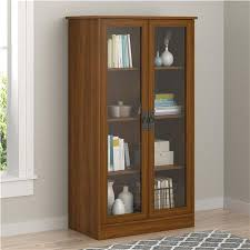quinton point bookcase with glass doors brown oak