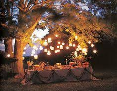 lighting for backyard party table under a tree lots of lanterns backyard party lighting