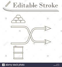 Stock Comparison Chart Gold And Oil Comparison Chart Icon Editable Stroke Simple