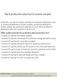 Pharmacist Resume Sample Stunning Top 60 Production Pharmacist Resume Samples