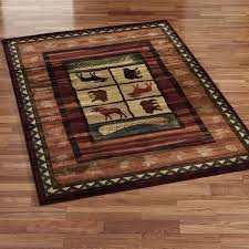lodge area rugs dean mountain view rustic pine cone lodge cabin ranch area rug size