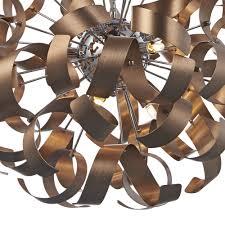 Copper Ribbon Light Dar Rawley 9 Light Ribbon Pendant Brushed Copper