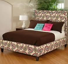 Image Floral Paisley King Fully Upholstered Bed With Paisley Fabric Wolf Furniture King Fully Upholstered Bed With Paisley Fabric By Cmi Wolf And