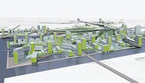 An aerial design of buildings and transport routes  Our students enjoy  enthusiastic and up  The Architectural Review