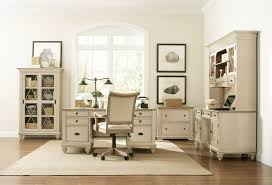 wooden home office. Furniture. Shabby White Wooden Home Office Desk With Drawers And Swivel Chair On