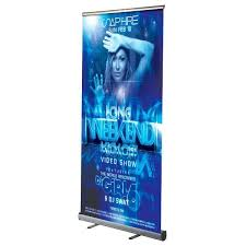 Retractable Display Stands Retractable Banner Roll Up Stands 100100 Silver Anodized Aluminum 78